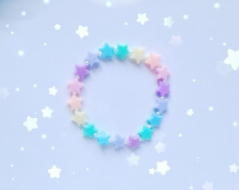 Cute Star Bead Bracelet, Pastel Kei, Fairy Kei, Sweet Lolita, Jfashion etc inspired