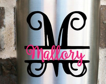 Split Letter Vine Monogram Decal - Monogram decal - Yeti Decal - Car Decal - Name decal - Letter Decal - Name Sticker - Monogram Sticker