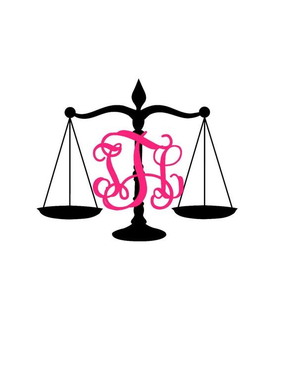 justice scales monogram decal law scales monogram etsy rh etsy com Scales of Justice No Background Lady Justice Clip Art