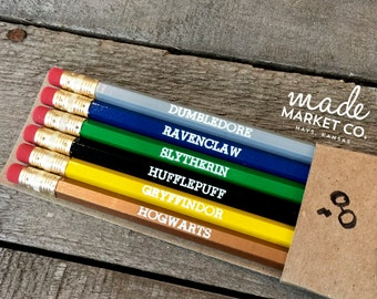 Harry Potter Pencil Set, Hogwarts Gift, Foiled Engraved Pencils, Christmas Gift, Stocking Stuffer, Best Seller, Most Popular Item, Office