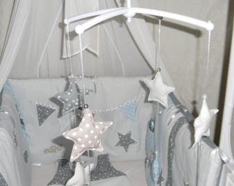 Musical mobile, grey, Beige and blue sky with stars