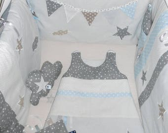 Set complete baby gray, Beige and blue sky with stars