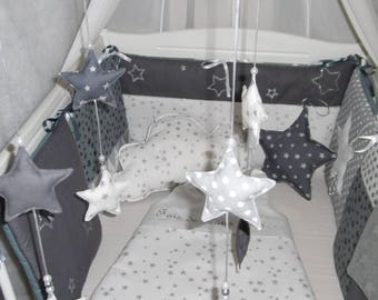 Complete baby set gray and white stars