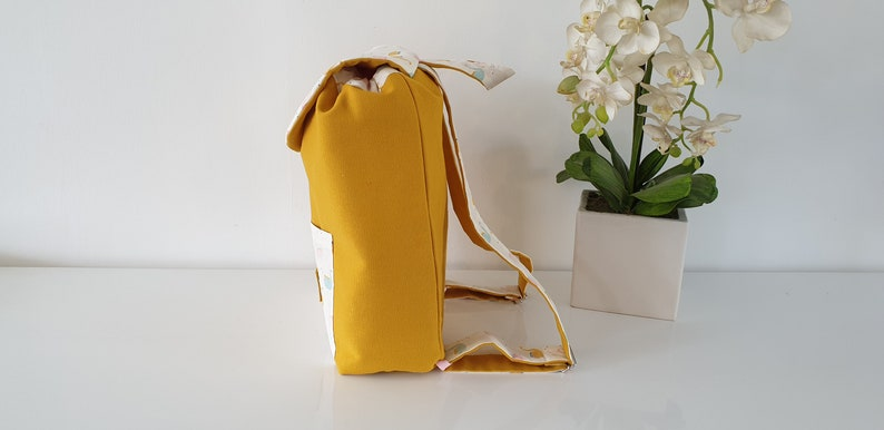 mustard and pink baby backpack with first name Child backpack