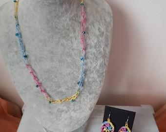 Crochet Beaded Necklace & Earrings Set
