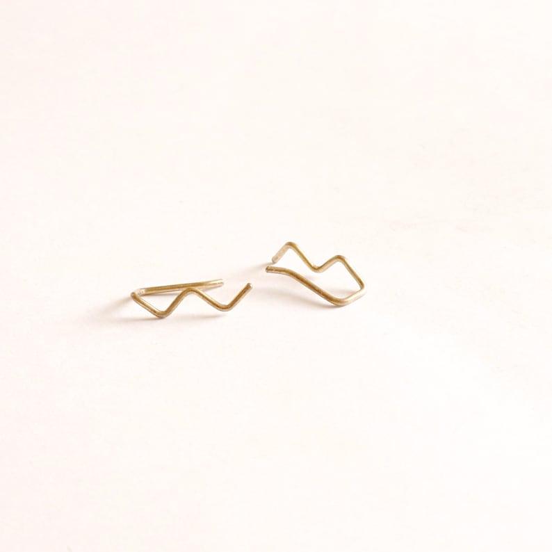 Tiny Zig Zag Ear Climber Earring 14k Gold Fill Rose Gold Fill Sterling Silver earrings Minimal jewelry threader Everyday earrings 040