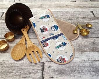 Double oven glove, oven glove, baking tray glove, tea towel, cat motifs, set, dimensions ca 75 x 17 cm