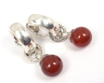 Rare Vintage 1995 Tiffany & Co Sterling Silver Carnelian Fascination Clip-On Earrings
