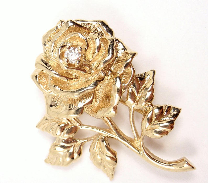 5f0419dff88a9 Vintage Tiffany & Co 14K Yellow Gold Diamond Rose Flower Pin Brooch