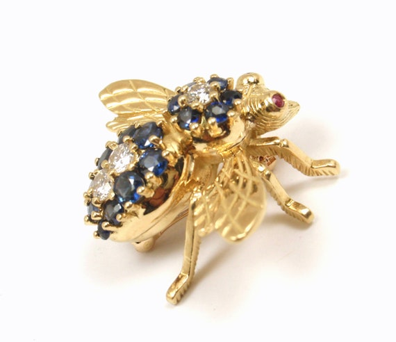 13778b7b62273 RARE Vintage Tiffany & Co 18K Gold X-LARGE 2.34tcw Blue Sapphire Diamond  Fly Bee Pin Brooch