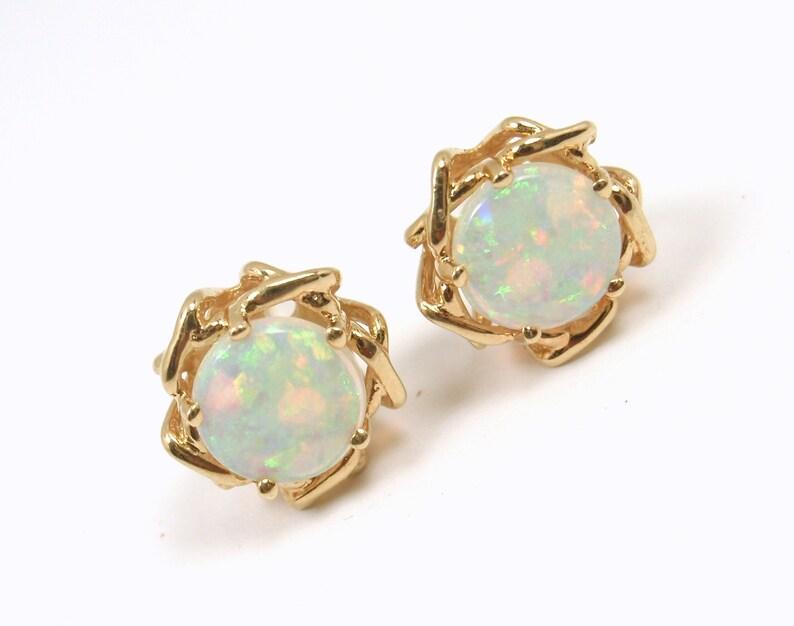 f0cea1162 Rare Vintage Tiffany & Co 18K Yellow Gold Opal Stud Earrings   Etsy