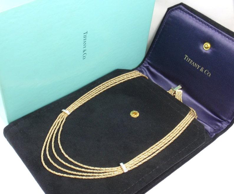 21938e19f Rare Vintage Tiffany & Co 18K Gold Diamond Multi Strand Chain   Etsy