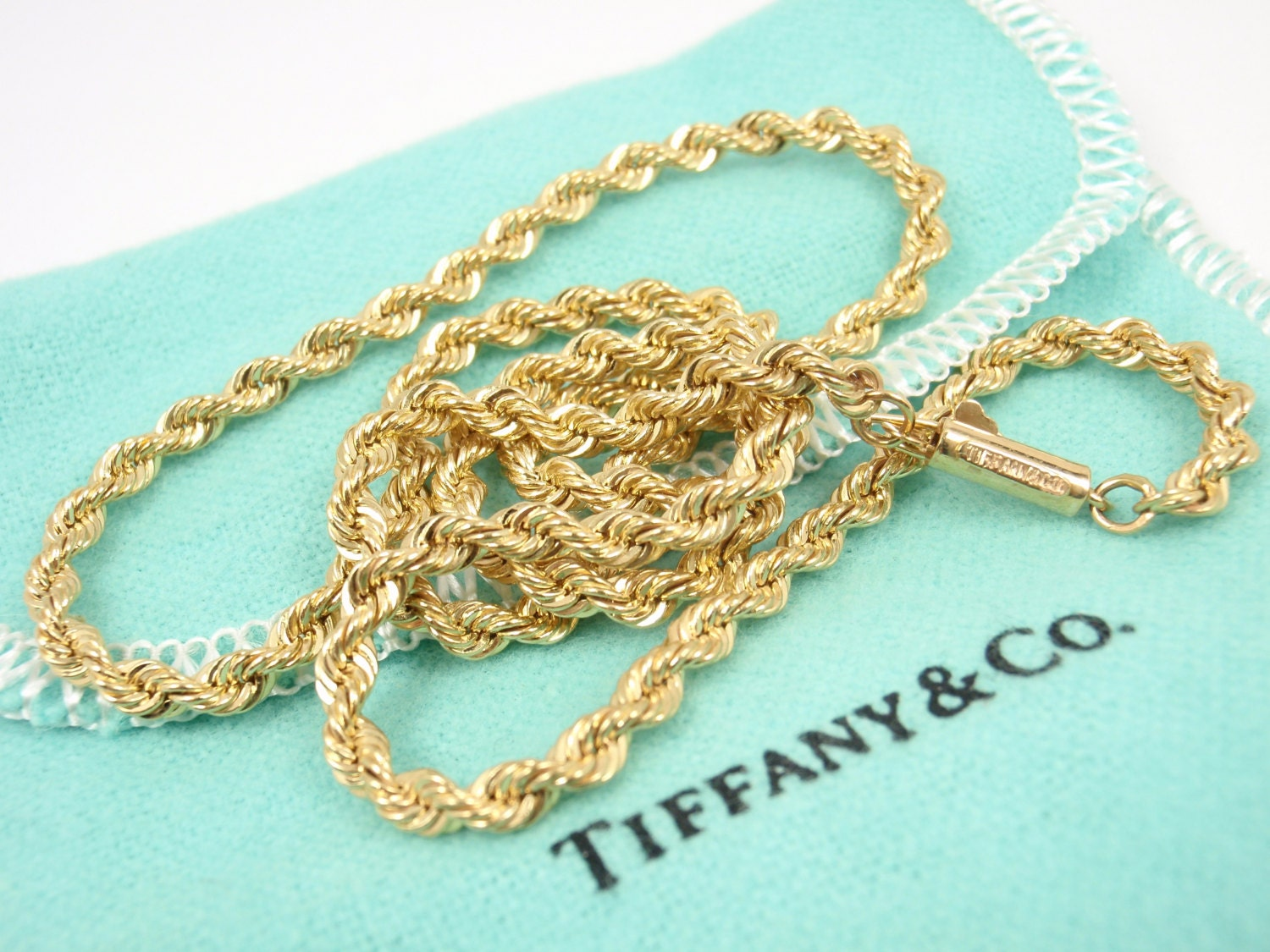 989ef0eef6177 Rare Vintage Tiffany & Co 14K Yellow Gold Rope Chain Necklace 18