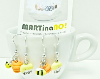 bee and honey fimo earrings - orecchini in fimo con apina e miele
