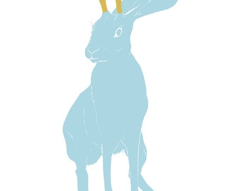 Blue jackalope, imaginary creature illustration