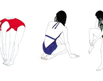 triptych print illustrations swimmers in bathing suit (set of 3)