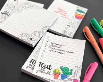 Coloring Notebooks - 4 Varied Designs - Illustrations - Inspiring Phrase - Quote - Coloring
