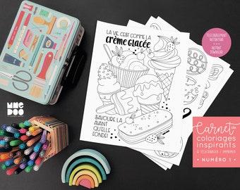 Toutes les illustrations du carnet de coloriages inspirants - Numéro 1 - À imprimer - À télécharger - Illustrations - Phrase inspirante