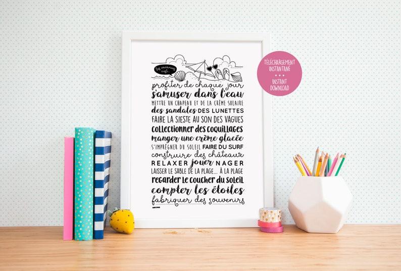 Règles Des Vacances Plage Mer Vacances D été Phrase Inspirante Affiche à Imprimer Print Quote Citation Affichette Poster