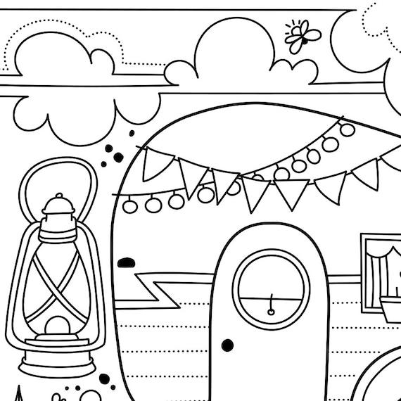 Coloriage Inspirant Camping à La Belle étoile Roulotte Camper Phrase Inspirante Coloriage à Encadrer Coloriage De Relaxation