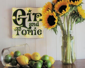 Gin Gift, Light Up Gin and Tonic Sign, Hand painted Gin Plaque, Present for Gin Lover, Kitchen Decor, Personalised Gin Art on Reclaimed Wood