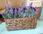 Year around farmhouse faux floral arrangement,high-end artificial lavander flowers, beautiful brown wicker basket with wide handle,handmade,