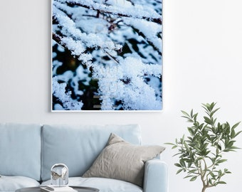 Snow Tree Photography, Christmas Home Decorations, Winter Wonderland Decor, Nature Photo Prints, Branch Print, Snow Abstract Wall Art Large