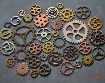 Lot of 50 Steampunk Metal Gears. Steampunk Findings for Jewelry or Costume, Cogs, Sprockets, Clockwork. Steam Punk Cosplay Clock Gear Pieces