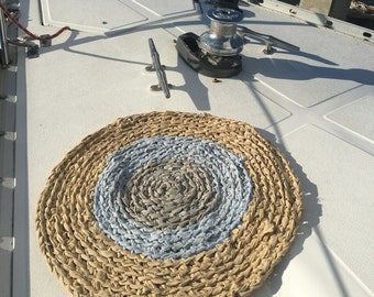 Handmade Circular Rug - Recycled Cotton Yarn