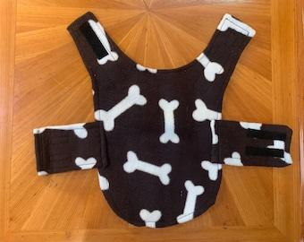 Dog Jacket - Handmade, Waterproof - Green with Doggie-Bones fleece