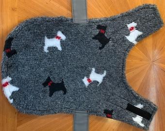 Dog Jacket - Handmade, Waterproof - Grey with Doggie fleece