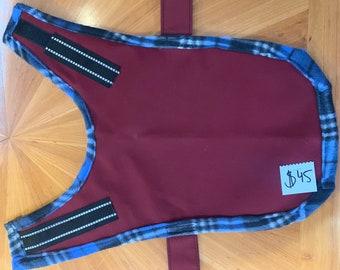 Dog Jacket - Handmade, Waterproof - Maroon with blue plaid Small/Medium