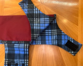 Dog Jacket - Handmade, Waterproof - Maroon with blue plaid