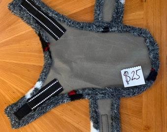 Handmade Waterproof Dog Jacket - Grey with Doggie Print Fuzzy