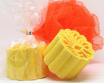Orange Bath Bomb, Fizzy, Foam, Aromatherapy, 2.5 oz. Size, Birthday Gift, Anniversary, Shower Gift ~ Set of 2