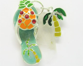 Flip Flop Charm, Necklace Charm, Charms, Beach Bag, Tropical Drink, Palm Tree, Bracelet Charm, Hawaii, Hawaiian  Charm