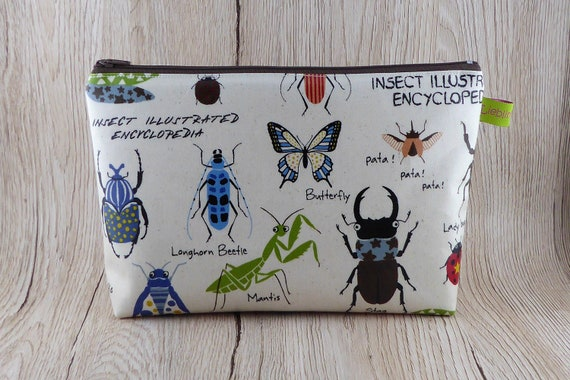 Watchwork cosmetics bag/culture bag, cosmetic bag, culture bag, washing  bag, makeup bag, bag organizer, insects