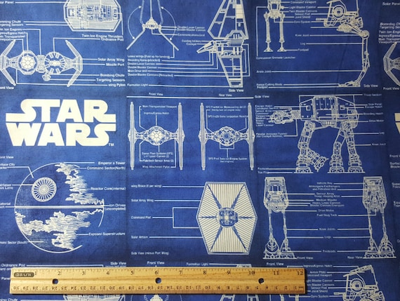 Star Wars Blueprint Fabric RARE Spaceship Schematics Deathstar Force Awakens Tie Fighter