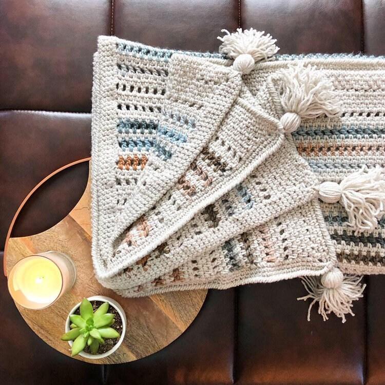 Crochet Neutral Texture Throw Blanket (fr) Décor à la maison