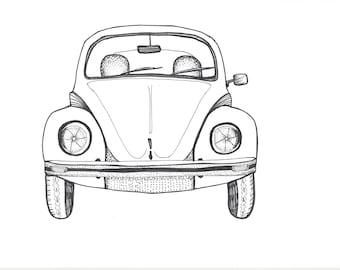 beetle drawing etsy