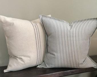 Farmhouse Pillow Set of 2-Grain Sack Pillow Cover & Blue Ticking Stripe Pillow Cover-Decorative Pillows-Farmhouse Decor-Home Decor