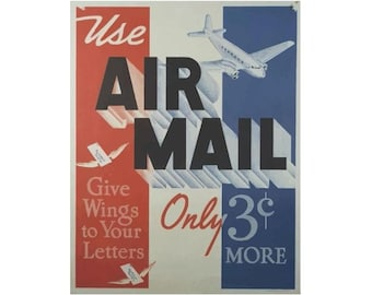 Use Air Mail Canvas Travel Poster Giclee Art PrintGallery Wrapped