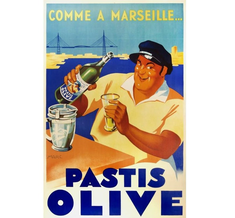 Pastis Olive Comme A Marseille Vintage Canvas Poster Gallery Wrapped