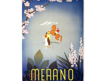 Merrano Vintage Canvas Italian Travel Poster Giclee Art Print Gallery Wrapped