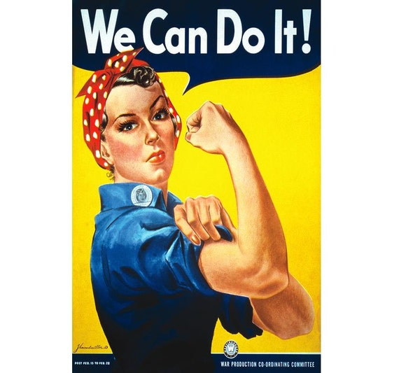 We Can Do It Rosie The Riveter Vintage Canvas Feminism Poster Etsy