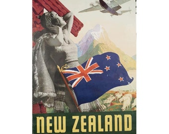 New Zealand via Pan American Travel Poster Giclee Art PrintGallery Wrapped