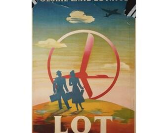 LOT Polskie Linie Lotnicz Canvas Travel Poster Giclee Art PrintGallery Wrapped
