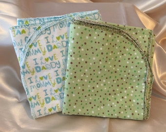 Green and Brown Polk a Dot/I Love Mommy Daddy Receiving Blanket Set