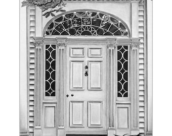 open door pencil drawing. Custom Home-Entrance Portrait - Detailed Front Door Drawing Memento Of Your Home Drawn From Photograph Great Housewarming Gift Open Pencil
