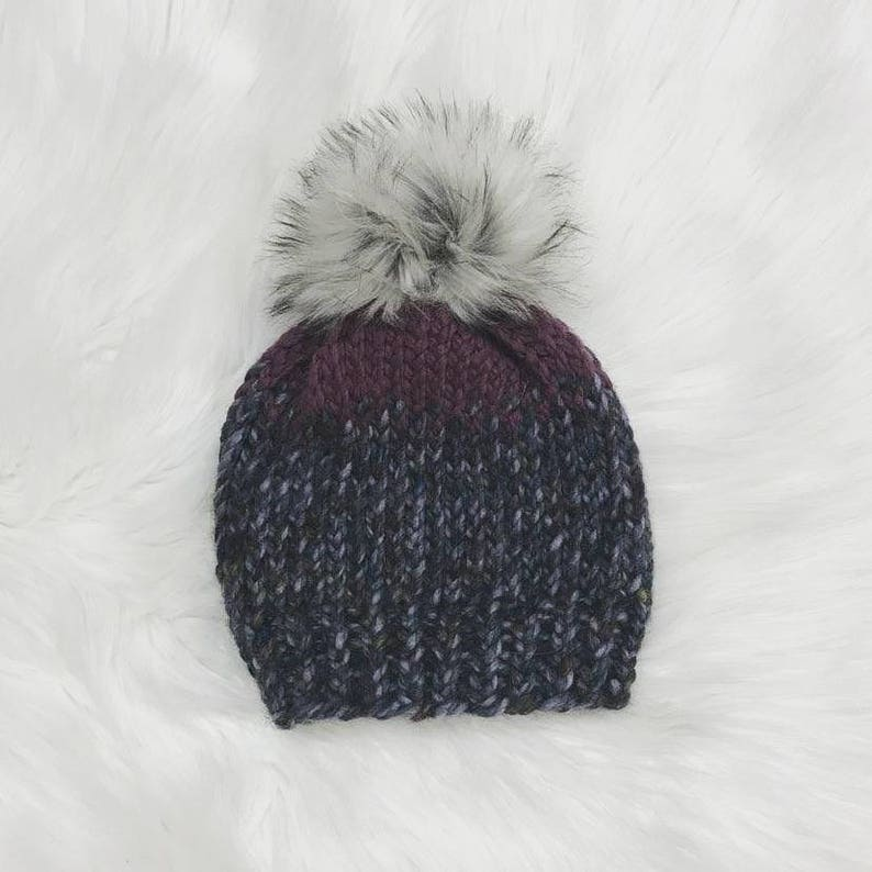 739f3d5e403388 Gray and purple beanie hat with faux fur pom gray multi | Etsy